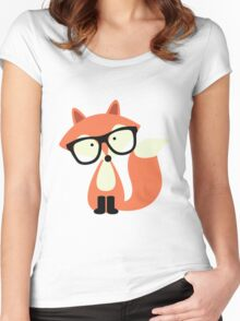 Cute Hipster Red Fox Women's Fitted Scoop T-Shirt
