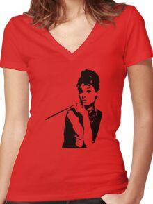 Audrey Hepburn Breakfast At Tiffanys Women's Fitted V-Neck T-Shirt