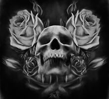 Skull And Rose's 5 BW by Gypsykiss