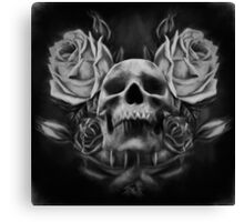 Skull And Rose's 5 BW Canvas Print
