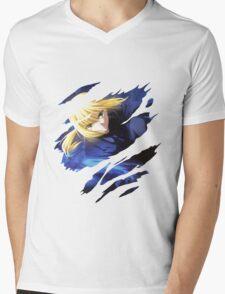 fate zero saber anime manga shirt Mens V-Neck T-Shirt