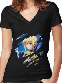 fate zero stay night saber anime manga shirt Women's Fitted V-Neck T-Shirt