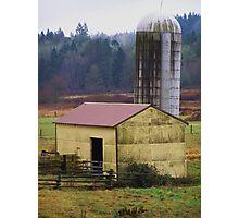 Yellow Barn with Silo Photographic Print