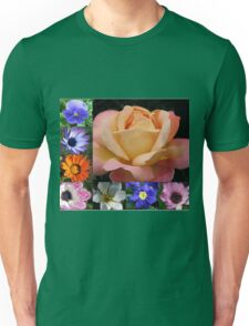 Spring and Summer Flowers Collage featuring Rose Unisex T-Shirt