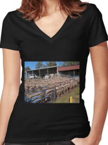 'Ewes' in the Race waiting to be crutched. 'Arilka' Mount Pleasant.S.A. Women's Fitted V-Neck T-Shirt