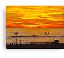 Beach Sunset - Santa Monica, California Canvas Print