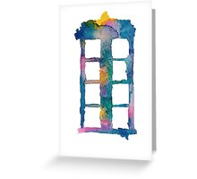 Watercolor Tardis (white) Greeting Card