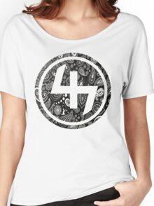 47 BLACK GANGSTER BANDANA PATTERN CIRCLE Women's Relaxed Fit T-Shirt