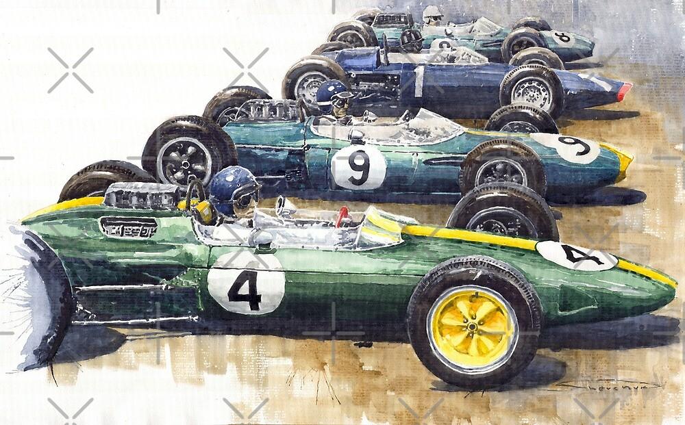 Start British GP 1963 - Lotus  Brabham  BRM by Yuriy Shevchuk