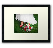 She wore red shoes Framed Print