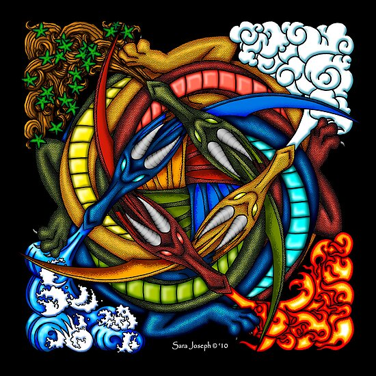 Elemental Celtic Dragon Knot by sjoseph