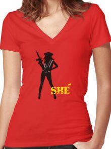 SHE Women's Fitted V-Neck T-Shirt