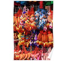 Colourful street market stall Poster