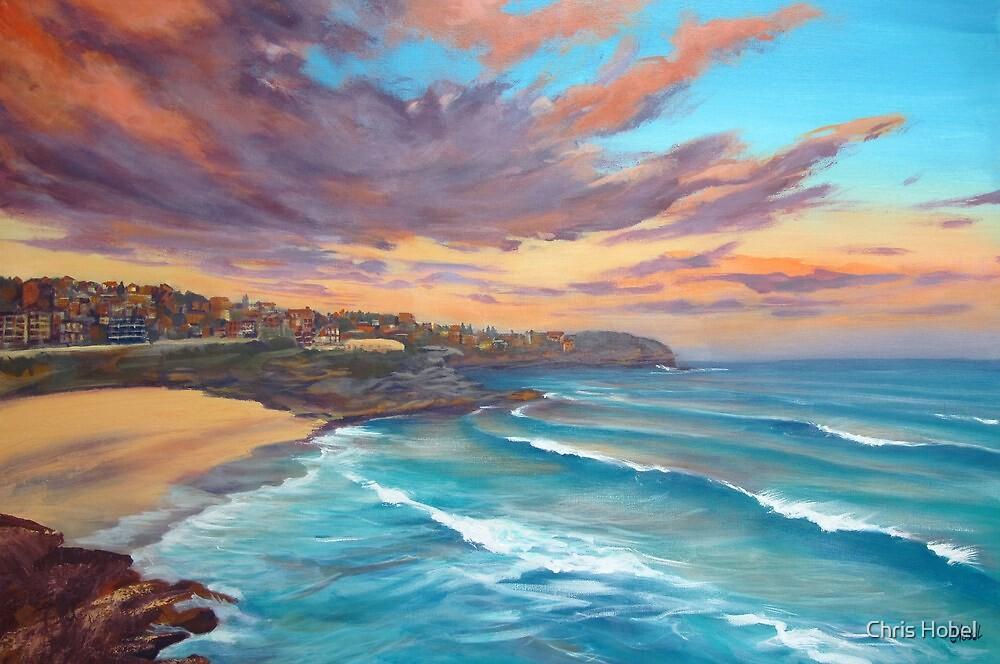 Sunrise-Tamarama Beach Sydney Australia Painting by Chris Hobel