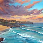 Sunrise-Tamarama Beach Sydney Australia Painting by Chris Hobel