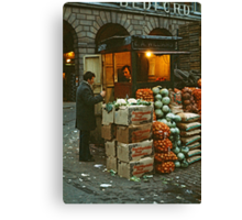 """""""Time for a Chat"""", Covent Garden Market, London, 1973. Canvas Print"""