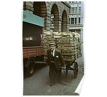 """""""A Heavy Load"""", Covent Garden Market, London, 1973. Poster"""