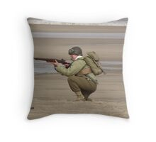 Take Aim - WW2 Operation Neptune Re-actment Skegness Beach 2010 Throw Pillow