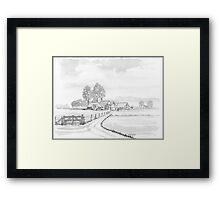 DUTCH LANDSCAPE - WASHED PEN DRAWING Framed Print
