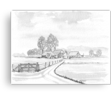DUTCH LANDSCAPE - WASHED PEN DRAWING Canvas Print