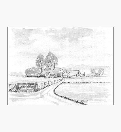 DUTCH LANDSCAPE - WASHED PEN DRAWING Photographic Print