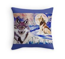 Wolves on ice Throw Pillow