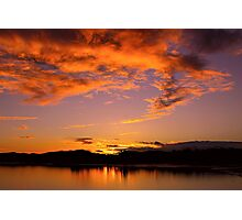 January Sunset at Fern Ridge Lake Photographic Print