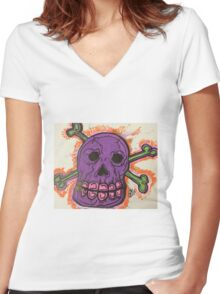 Da Purple Skull!!! Women's Fitted V-Neck T-Shirt