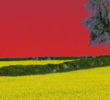 Oak Tree Landscape ( Red ) Sticker