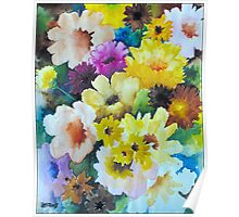 CHRYSANTHEMUMS AND ASTERS - AQUAREL Poster