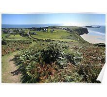 View to Worms Head from Rhossili Down Poster