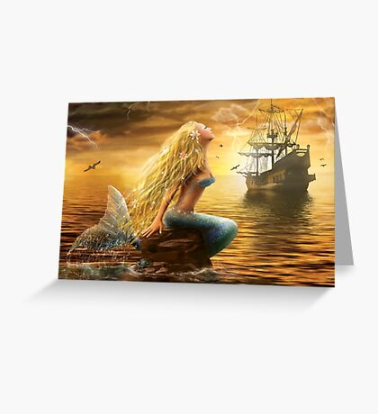 Beautiful Fantasy Sea Mermaid with Ship at Sunset background Greeting Card