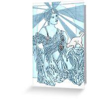 Sliver Moon Kitty Selene Greeting Card