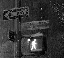 NYC Snowy Street Sign by 13OfHearts