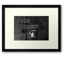 NYC Snowy Street Sign Framed Print