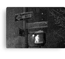 NYC Snowy Street Sign Canvas Print