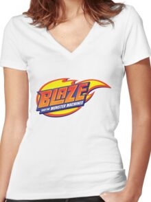 blaze and the monster machines Women's Fitted V-Neck T-Shirt