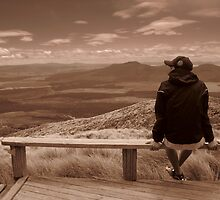 Sitting On Top of the World - Sepia by Alexandra Simpson