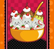 Mice Cream Sundae Kawaii Cards and Prints by BeataViscera
