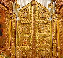 Golden Doors of St Nicholas Russian Church, Bucharest by Graeme  Hyde