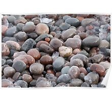 Frozen Lake Superior Pebbles Poster