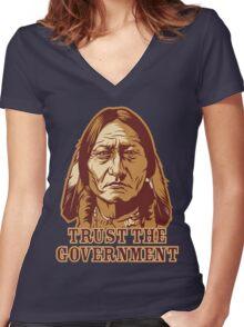 Trust Government Sitting Bull Women's Fitted V-Neck T-Shirt