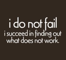 I do not fail. i succeed in finding out what does not work by digerati