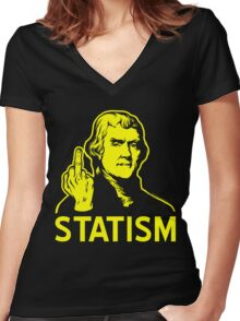 Jefferson F Statism Women's Fitted V-Neck T-Shirt
