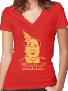 Stop Communist Parties Women's Fitted V-Neck T-Shirt