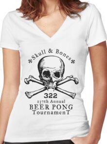 Skull & Bones Beer Pong Tournament Women's Fitted V-Neck T-Shirt
