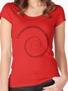 black pi spiral Women's Fitted Scoop T-Shirt