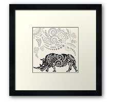 Ornate Indian Rhino Framed Print