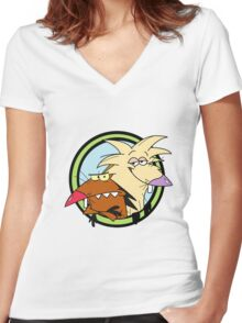 The Angry Beavers Women's Fitted V-Neck T-Shirt
