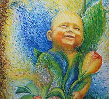 Child developing, growing to blossem later by Liesbeth  Pockett